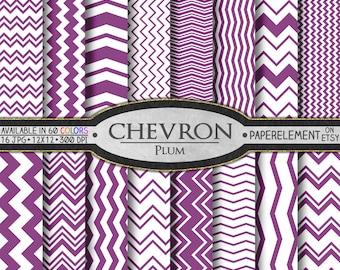 Plum Purple Chevron Digital Paper Pack - Instant Download - Chevron Paper for Digital Scrapbooking