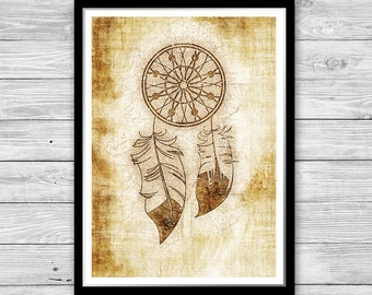 Dreamcatcher print Native American decor Archival art print with style of old geographic maps, Dreamcatcher Art Print, Dream Catcher Art