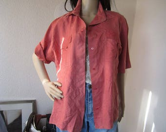 True vintage 80s silk Blouse silk blouse berry Oversize