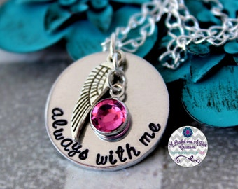 Always with me memorial-remeberance hand stamped necklace