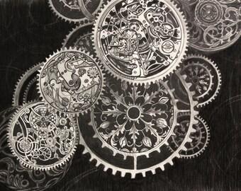 Watch, Time, Original Graphite Drawing