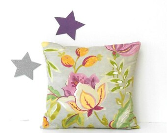 Waverly 18x18 Pillow Cover, Watercolor Floral in Purple, Violet, Green, Yellow on Grey Accent Pillow, Decorative Throw Sofa Cushion Pillow
