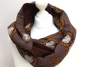 Chocolate Brown Scarf, Lion Scarf, Infinity scarf, Circle scarf, Hooded scarf, African print scarf, Gift idea, Afrocentric Gift, Snood Scarf