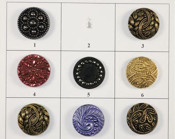 "Sm/Med Vintage Glass Buttons - 7/8"" in size - Board 2M"