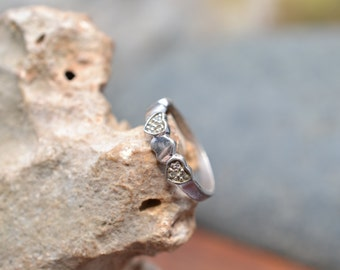 Sterling Silver Gemstone Heart Band Ring
