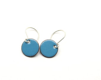 Small Blue Dangle Earrings with Sterling Silver Earwires - Enamel Jewelry for Everyday Wear - Birthday Gift for Girlfriend / Candies