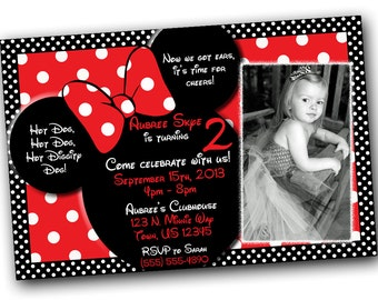 SALE Minnie Mouse Invitations, Minnie Mouse Birthday, Red Minnie Mouse invitations, Minnie Mouse party with FREE Thank You card