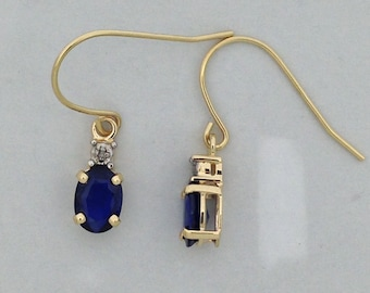 Natural Sapphire with Natural Diamond Dangle Earrings Solid 14kt Yellow Gold