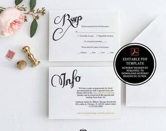 Wedding, RSVP Template, Printable Wedding Template, Editable RSVP Card, Wedding Rsvp Template, Instant Download, DIY Wedding, Typography, 12