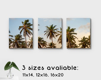 Palm Trees in the Wind canvas collage - 3 canvas, 3 different sizes available - home decor, hawaii, beautiful paradise, gifts, wedding