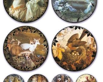 Fée orbes Collage feuille - Moonlight - Fantasy - magie - téléchargement immédiat - Vintage Fairy Paintings - téléchargement numérique - imprimable