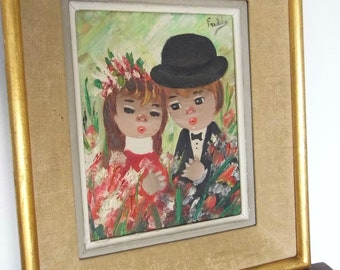 Oil on canvas vintage. Framed and signed. Fulda. couple of little sweetheart. 1950's