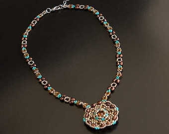 Beaded Necklace with Dark Amber Swarovski Crystal Medallion Pendant and Dark Silver, Brown, Turquoise and Topaz Rope. S219
