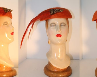 Joseph Magnin Orange Pheasant Hat