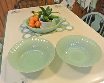 Fire King Anchor Hocking Green Jadeite Shell Vegetable Serving Bowl