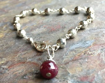 Silver pyrite sterling silver bracelet with a ruby gemstone