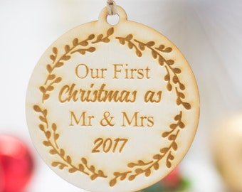 Our first Christmas as Mr Mrs Xmas  Ornament Christmas Tree  Engraved Christmas Ornaments Home Decor