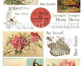 BEES digital collage sheet, Download shabby vintage printables honeybee bumblebee flowers garden bugs beehive antique ephemera Victorian art