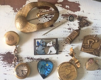 Antique jewelry lot, enamel scotty dog pin, watch, sash pin, award,etc