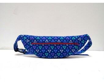 Blue geomeric print bumbag