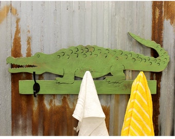 Alligator Towel Hook Alligator Bathroom Hooks Towel Hooks Wooden Alligator Hook Kids Bathroom Hooks Beach House Hooks Gator Hook