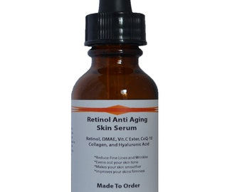 Retinol Anti Aging Skin Serum w/Retinol, DMAE, Vitamin C Ester, CoQ-10, Collagen and Hyaluronic Acid 1.2 oz
