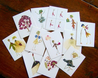 STARTER PACK - Wholesale order of 12 of my best-selling garden botanical notecards - Pressed flower art - Blank inside - Petal People Press