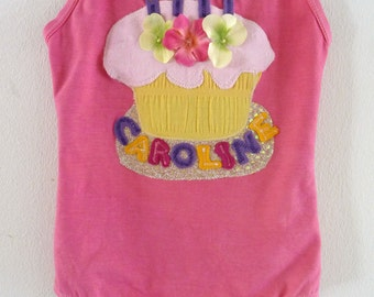 BIRTHDAY CUPCAKE LEOTARD - Personalized with Name and Birthday Candles - Sizes 18/24  months, 2/4 years, 4/6 years, 6/8 years and up