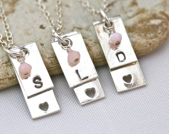 Personalized initial necklace with heart in sterling silver