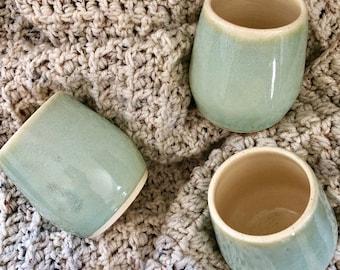 Mint Green Tumbler | Stemless Wine Glass | Ceramic Wine Tumbler | Wedding Gift | Housewarming Gift | Wine Glass