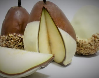 Chocolate Covered Pears-Milk Chocolate,White Chocolate, Pecans