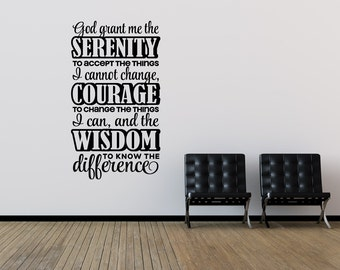 God Grant Me The Serenity To Accept The Things I Cannot Change Serenity Prayer Christian Decor Bedroom Decor Wall Decal