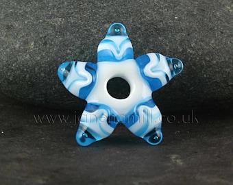 """Lampwork art glass star, """"Starflake"""", focal or pendant, FHFteam, GBUK, SRA"""