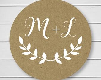 Initial Wedding Stickers, White Ink on Kraft Stickers, Kraft Wedding Envelope Seals, Kraft Wedding Stickers, Kraft (#105-KR-WT)