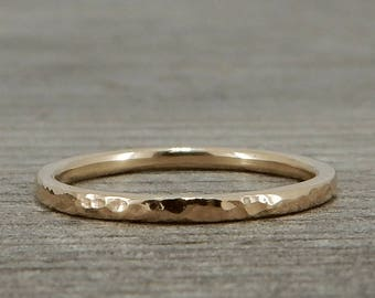 Recycled Gold Wedding Band / Ring - 14k Yellow Gold, Hammered, Narrow, Petite, Thin, Skinny, Stackable Ring, Eco-Friendly, Made to Order