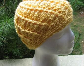 Crocheted Womans Hat - Spiral Pattern - Sunshine Yellow - Beanie, Cloche