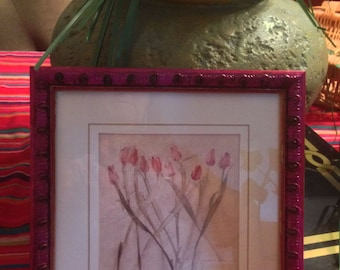 "Hand  Painted  Bohemian Unique Wood Dark Pink Tulip Flowers Wall Picture  8""Hx8""W  W0036"