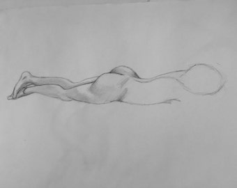 "Female Figure Drawing - ""Marie"", 8x16 - Reclining Female Figure - original figure drawing, graphite on strathmore paper"