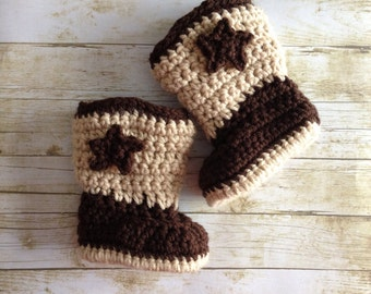 Crochet Baby Cowboy Boots, Baby Cowboy Booties, Cowboy Baby Shoes Size 0-3 Months - ANY COLOR