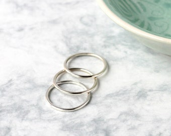 Heavy Sterling Silver Stacking Rings - Set of Three   Stacking ring set   Hammered rings   Simple ring   Ring trio   mother's day