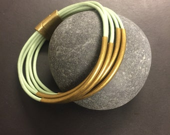 Leather Wrap Bracelet - Aqua Leather Wrap Bracelet