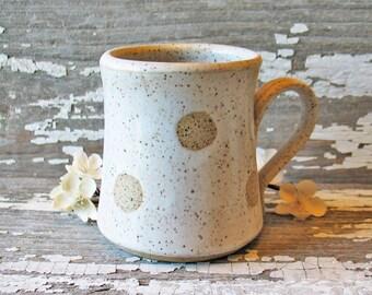 Polka Dot Mug - Handmade Pottery Mug - Polka Dots Coffee Cup - Pottery Tea Cup - Dots - Rustic Pottery - CHOICE of COLOR - Made to Order