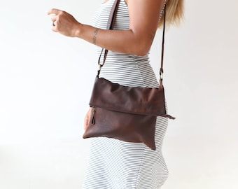 Brown Leather Foldover Crossbody Hanbag, Brown Leather Shoulder Bag, Fold Over Bag,