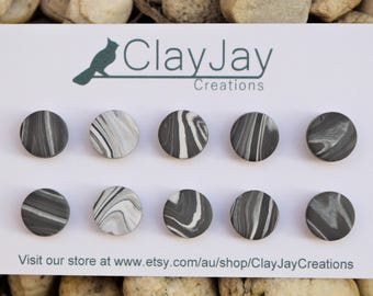 grey marbled polymer clay earrings