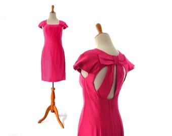 Robe pin up robe rose Cut Out robe des années 50 robe Vintage Estevez Style vêtements Vintage des années 80 des années 1950 les vêtements crayon Fuchsia Wiggle petit