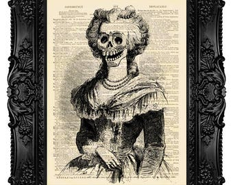 Halloween Marie Antoinette Rococo Skull Calavera Catrina ORIGINAL ARTWORK - Dictionary Art Print Vintage Antique Upcycled Book Page no. 131