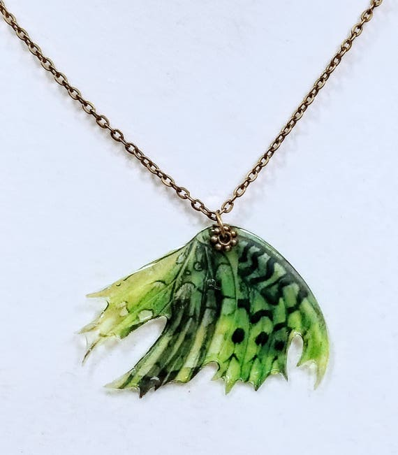 Feathered Fairy Wings, Mossy Green - Necklace