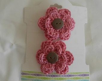 Crocheted Flower Hair Clips/ Crocheted Pink Flower Hair Clips