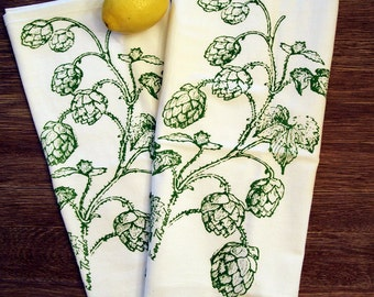 Set of 2 - HOPS - Multi-Purpose Flour Sack Bar Towels - Renewable Natural Cotton