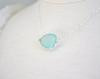 Silver Necklace, Aqua Chalcedony Necklace, Bridesmaid Gifts, Birthday Gift gifts for mom best friend gift Bridesmaid Necklace mothers day